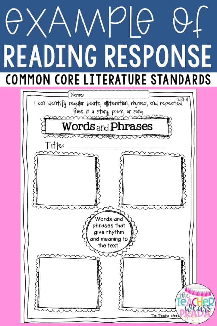 reading response graphic organizers for answering reading response questions