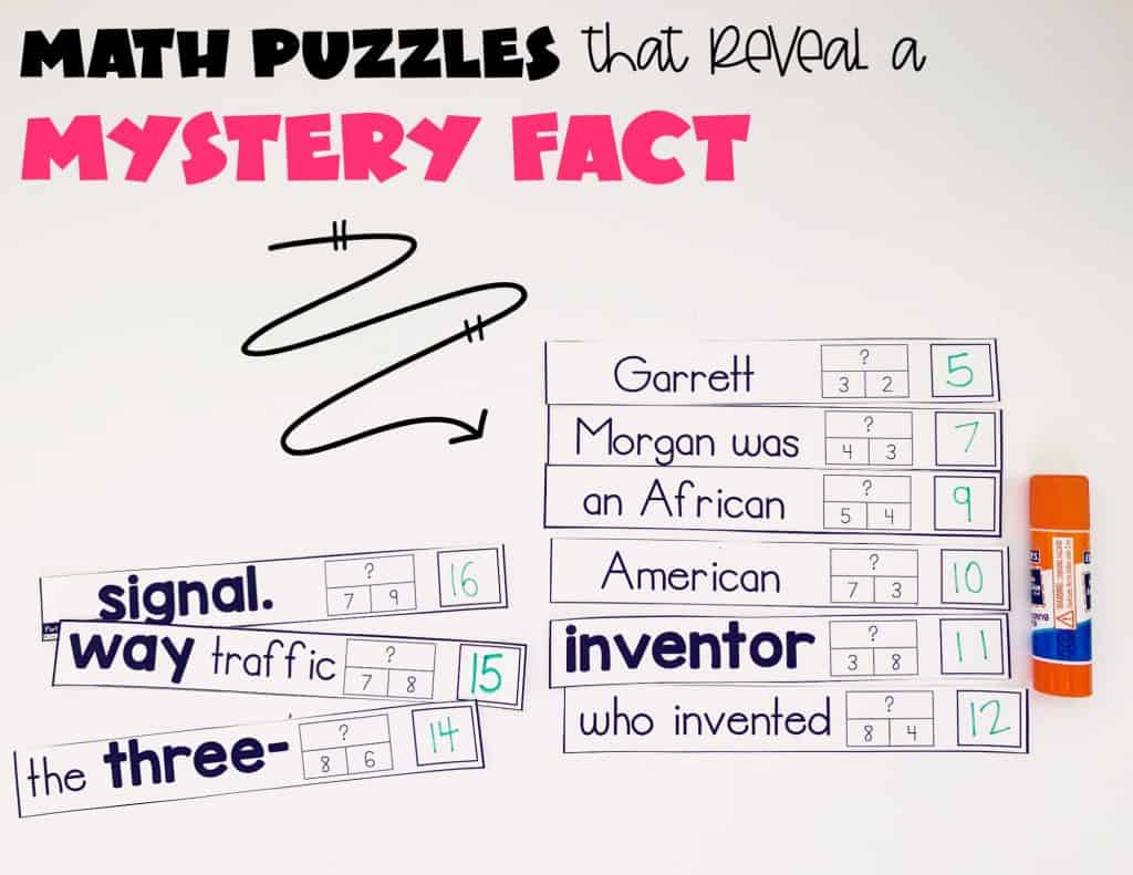 Students solving math problems to reveal the mystery fact about Black History Month